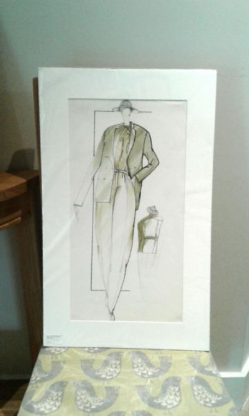 Original 1980's French fashion design - Olive green jacket & trousers